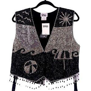 Theo vintage hippy vest sequin black silver large